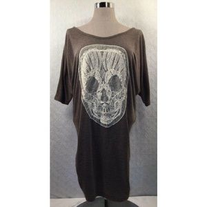 3/$18 Delirious Top Lace Mesh Skull Gray Ruching